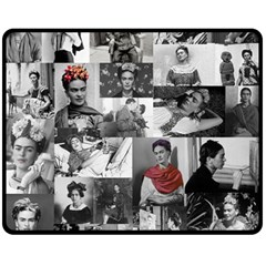 Frida Kahlo Pattern Fleece Blanket (medium)  by Valentinaart