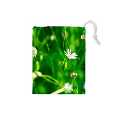 Inside The Grass Drawstring Pouches (small)  by FunnyCow