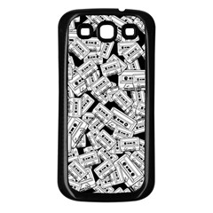 Audio Tape Pattern Samsung Galaxy S3 Back Case (black) by Valentinaart