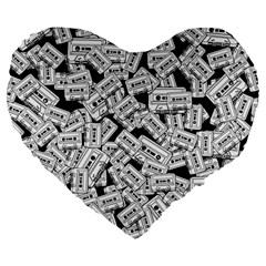 Audio Tape Pattern Large 19  Premium Flano Heart Shape Cushions by Valentinaart
