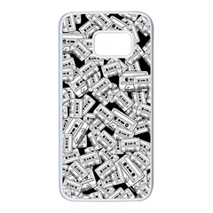 Audio Tape Pattern Samsung Galaxy S7 White Seamless Case by Valentinaart
