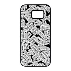 Audio Tape Pattern Samsung Galaxy S7 Edge Black Seamless Case by Valentinaart