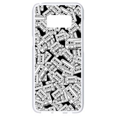 Audio Tape Pattern Samsung Galaxy S8 White Seamless Case by Valentinaart