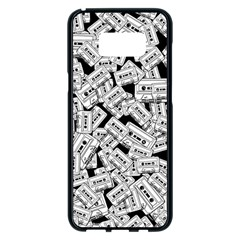 Audio Tape Pattern Samsung Galaxy S8 Plus Black Seamless Case by Valentinaart