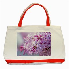 Pink Lilac Flowers Classic Tote Bag (red) by FunnyCow