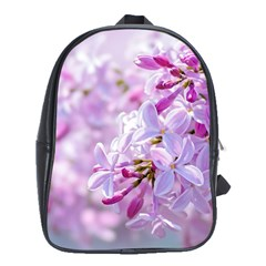 Pink Lilac Flowers School Bag (xl) by FunnyCow