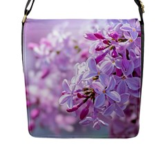 Pink Lilac Flowers Flap Messenger Bag (l)  by FunnyCow
