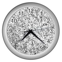 Willow Foliage Abstract Wall Clocks (silver)  by FunnyCow