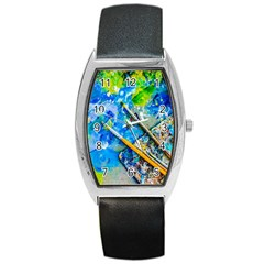 Artist Palette And Brushes Barrel Style Metal Watch by FunnyCow