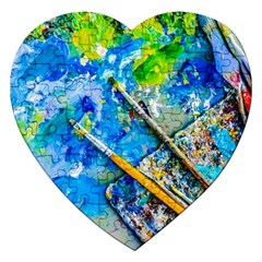 Artist Palette And Brushes Jigsaw Puzzle (heart) by FunnyCow