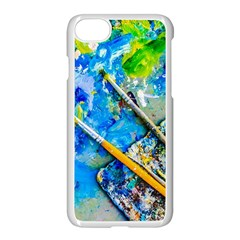 Artist Palette And Brushes Apple Iphone 8 Seamless Case (white) by FunnyCow