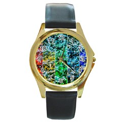Abstract Of Colorful Water Round Gold Metal Watch by FunnyCow
