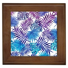 Blue Tropical Leaves Pattern Framed Tiles by goljakoff