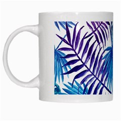 Blue Tropical Leaves Pattern White Mugs by goljakoff