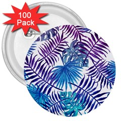 Blue Tropical Leaves Pattern 3  Buttons (100 Pack)  by goljakoff