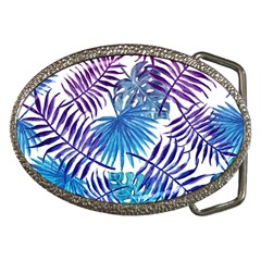 Blue Tropical Leaves Pattern Belt Buckles by goljakoff