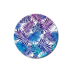 Blue Tropical Leaves Pattern Rubber Coaster (round)  by goljakoff