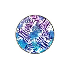 Blue Tropical Leaves Pattern Hat Clip Ball Marker (10 Pack) by goljakoff