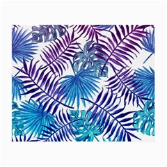 Blue Tropical Leaves Pattern Small Glasses Cloth (2 Side) by goljakoff