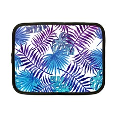 Blue Tropical Leaves Pattern Netbook Case (small)  by goljakoff