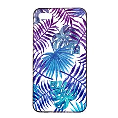 Blue Tropical Leaves Pattern Apple Iphone 4/4s Seamless Case (black)