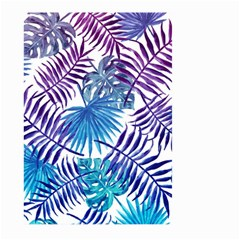 Blue Tropical Leaves Pattern Large Garden Flag (two Sides) by goljakoff