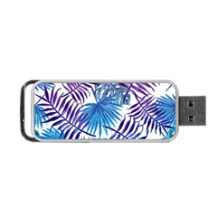 Blue Tropical Leaves Pattern Portable Usb Flash (one Side) by goljakoff