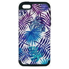 Blue Tropical Leaves Pattern Apple Iphone 5 Hardshell Case (pc+silicone) by goljakoff