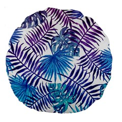 Blue Tropical Leaves Pattern Large 18  Premium Round Cushions by goljakoff