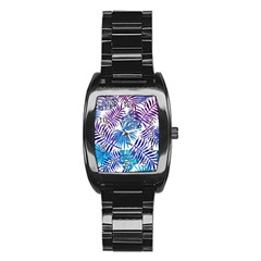 Blue Tropical Leaves Pattern Stainless Steel Barrel Watch by goljakoff
