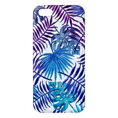 Blue Tropical Leaves Pattern Iphone 5s/ Se Premium Hardshell Case by goljakoff