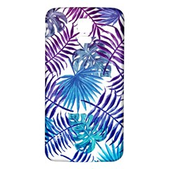 Blue Tropical Leaves Pattern Samsung Galaxy S5 Back Case (white) by goljakoff