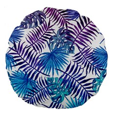 Blue Tropical Leaves Pattern Large 18  Premium Flano Round Cushions by goljakoff