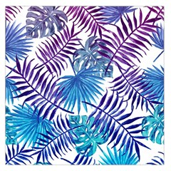 Blue Tropical Leaves Pattern Large Satin Scarf (square) by goljakoff