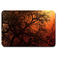 Sunset Silhouette Winter Tree Large Doormat