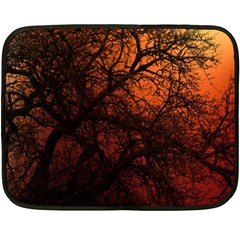 Sunset Silhouette Winter Tree Double Sided Fleece Blanket (mini)
