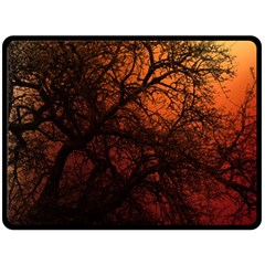 Sunset Silhouette Winter Tree Fleece Blanket (large)