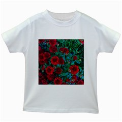 Red Mum Flowers Kids White T Shirts by bloomingvinedesign