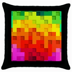 Abstract Background Square Colorful Throw Pillow Case (black)