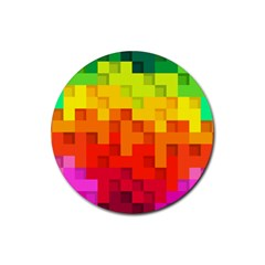 Abstract Background Square Colorful Rubber Round Coaster (4 Pack)