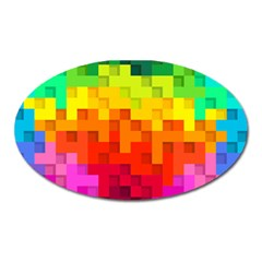 Abstract Background Square Colorful Oval Magnet