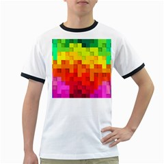 Abstract Background Square Colorful Ringer T Shirts