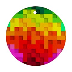 Abstract Background Square Colorful Round Ornament (two Sides)