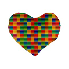 Background Colorful Abstract Standard 16  Premium Flano Heart Shape Cushions