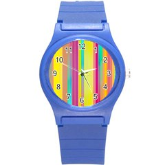 Background Colorful Abstract Round Plastic Sport Watch (s)