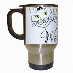 Funny Cats  We Are All Mad Here Travel Mugs (white) by FunnyCow