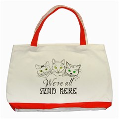 Funny Cats  We Are All Mad Here Classic Tote Bag (red) by FunnyCow