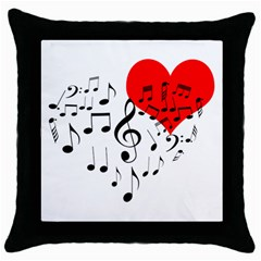Singing Heart Throw Pillow Case (black) by FunnyCow
