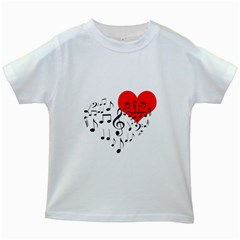Singing Heart Kids White T Shirts by FunnyCow