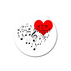 Singing Heart Magnet 3  (round) by FunnyCow